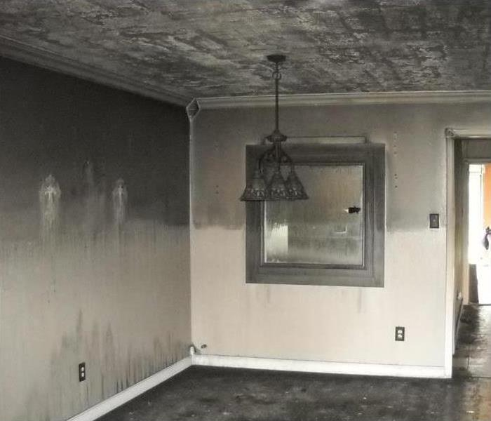 Smoke and soot damage in a home
