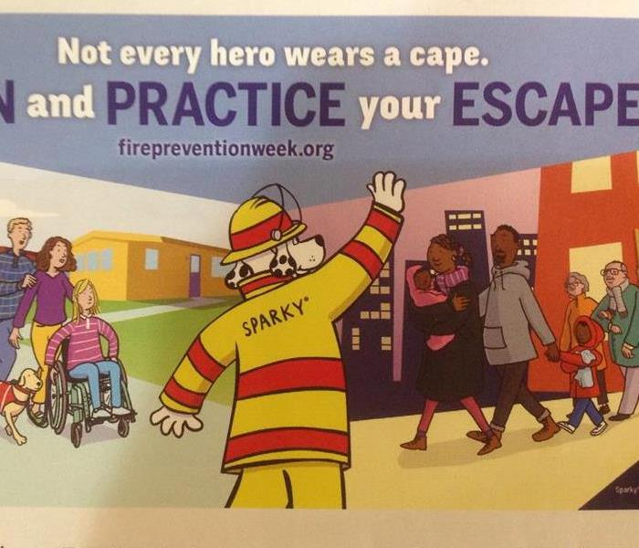 Cartoon dog in firefighter uniform helping people safely leave a building